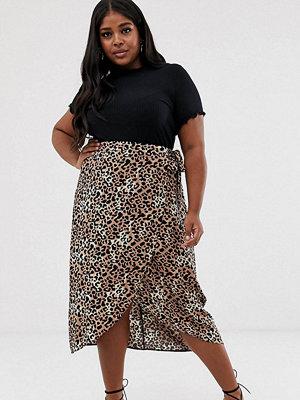 New Look Plus New Look Curve Midikjol med leopardmönster