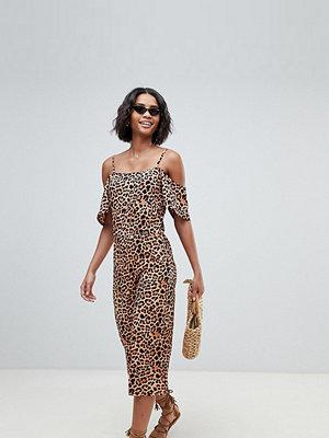 South Beach Exclusive leopardmönstrad jumpsuit till stranden