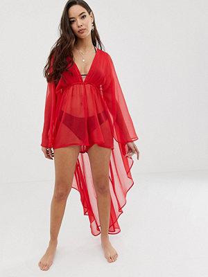 ASOS DESIGN Röd glammig strandplaysuit i chiffong med cape baktill