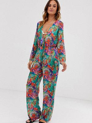 Unique21 Jumpsuit med tropiskt blommönster och knytning framtill Tropiskt mönster