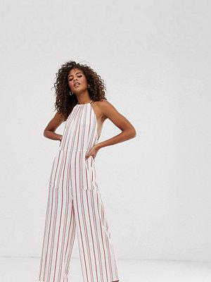 Asos Tall Randig minimalistisk jumpsuit med halterneck Röd/gräddvit