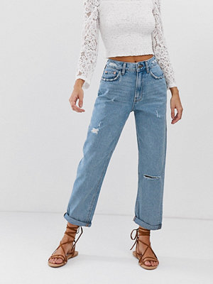 River Island Mellanblå mom jeans Mid auth