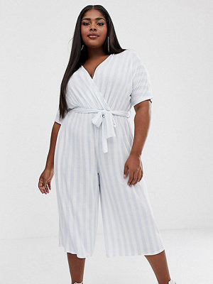 Boohoo Plus Jumpsuit i culotte-modell med blå ränder