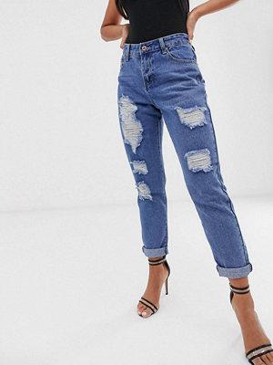 Liquor N Poker Slitna slim jeans i boyfriend-modell Mellanblå