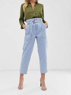River Island Ljusblå jeans med rynkad midja Light auth