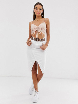 River Island Vit kjol med skärp och slits framtill