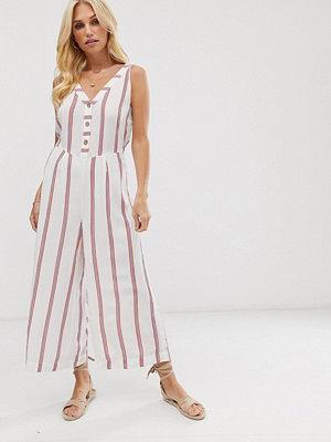 Vero Moda Randig jumpsuit med culotte-byxor och knappar Flerfärgad