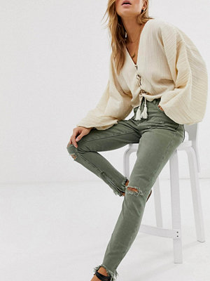 One Teaspoon Freebirds Skinny jeans med hög midja och fransiga benslut Super khaki