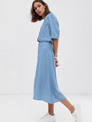 Selected Femme Midikjol i Chambray-kjol med knappar