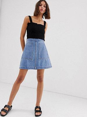 Weekday Blå a-linjeformad jeanskjol Himmelsblå