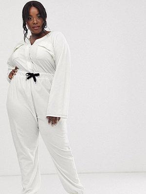 ASOS Curve Jumpsuit i overallmodell och jersey med kontrastsöm och ficka framtill