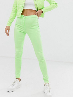 Parisian Neongröna skinny jeans med hög midja Neongrön