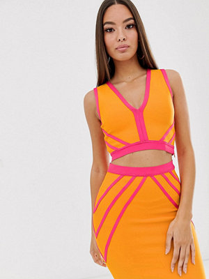 The Girlcode Orange och rosa åtsittande crop top i mesh Orange/rosa