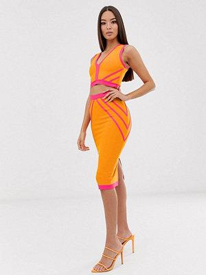 The Girlcode Orange och rosa åtsittande midikjol Orange/rosa
