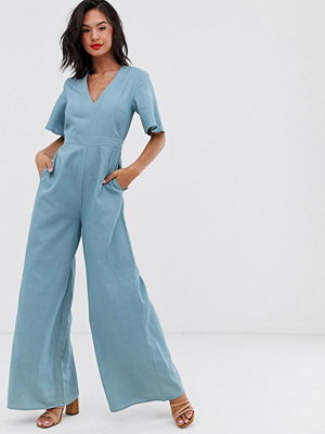 Glamorous Jumpsuit i chambray-tyg med smock och vida ben Chambray