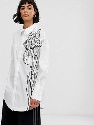 ASOS White Blommig skjorta i ritat mönster