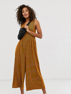 Asos Tall Orange randig jumpsuit med rundad smock Orange/stripe