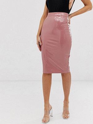 ASOS DESIGN Pennkjol av vinyl i midimodell Rose