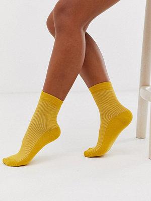 ASOS DESIGN Enkelribbade ankelstrumpor Mustard senapsgul