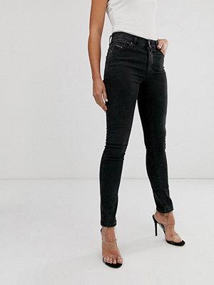 Diesel Roisin Svarta medelhöga skinny jeans med tvättad finish Tvättad svart