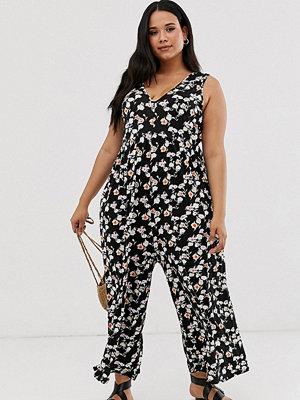 ASOS Curve Smockad jumpsuit i grungeinspirerat blommönster Pink/black ditsy