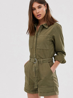 Weekday Kakigrön cargo-playsuit i denim Kakifärgad