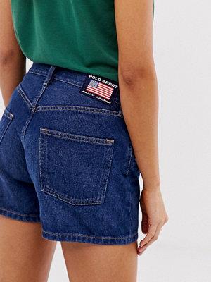 Polo Ralph Lauren Polo Sports Jeansshorts med flagglogga Mellanblå