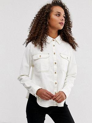 ASOS DESIGN Vit avslappnad jeansskjorta