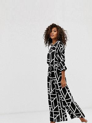 Asos Tall Jumpsuit med knytning i midjan och geometriskt mönster Svartvitt geometriskt mönster