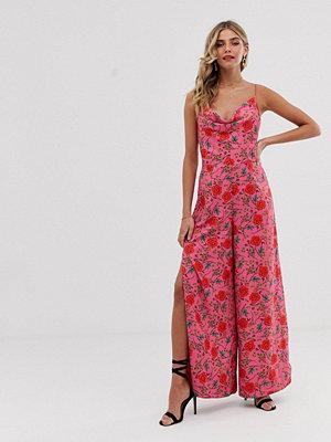 Finders Keepers Hana Blommig jumpsuit med vida ben Fuschia floral
