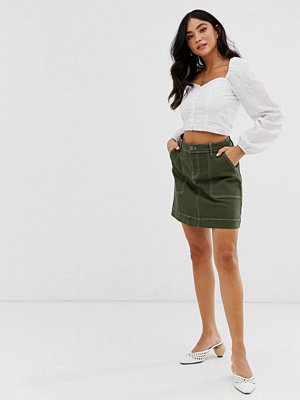 Oasis Khakigrön minikjol med cargofickor Kakifärgad