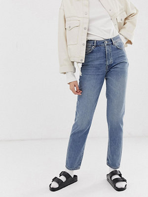 Selected Femme Authentic Straight leg jeans Mellanblå