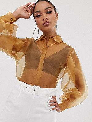 Unique21 Skjorta i organza med ballongärmar Brun organza