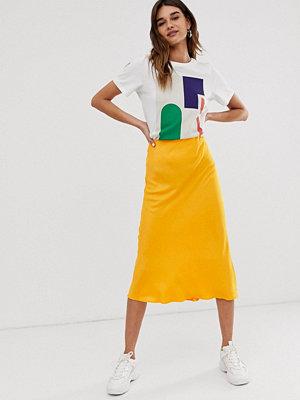 ASOS White Snedskuren kjol i satäng Orange