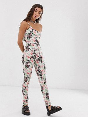New Girl Order Blommigt drakmönstrad bodysuit med bar axel