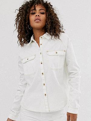 Asos Tall Vit jeansskjorta med avslappnad passform