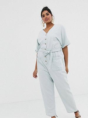 ASOS Curve Ljusblå jumpsuit i mjuk denim med knäppning Ljusblå tvätt