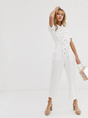 Miss Selfridge Vit cargo-jumpsuit i denim