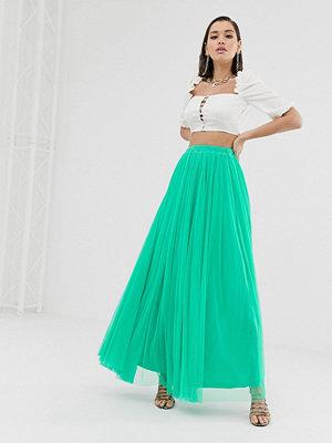 Lace & Beads Grön maxikjol i tyll