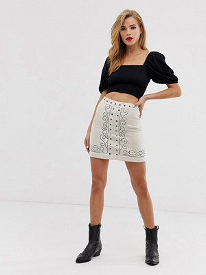 Glamorous Broderad a-linjeformad minikjol