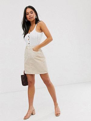New Look Beige manchesterkjol med fickdetaljer
