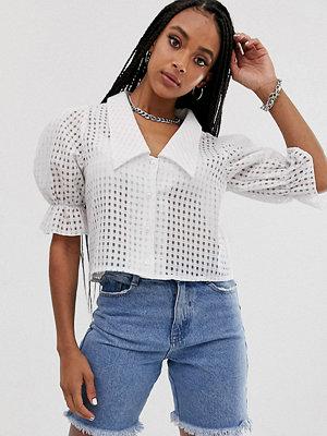 Reclaimed Vintage Vintageinspirerad Rutig skir skjorta i kort modell