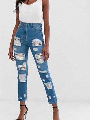 Parisian Tall Jeans med hög midja och extremt slitna detaljer Mellanblå