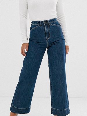 Vero Moda Petite Wide leg jeans med hög midja Mörkblå denim
