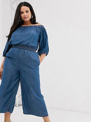 Simply Be Blå jumpsuit med singoallaringning och smockad midja