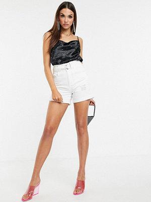 "Boohoo Vita slitna jeansshorts i ""mom""-modell"