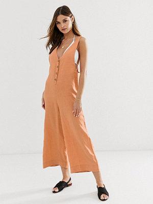 Rhythm Amalfi Orange jumpsuit i linnetyg Rostfärgat