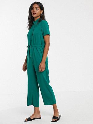 ASOS DESIGN Jumpsuit i skjortmodell med knytband i midjan