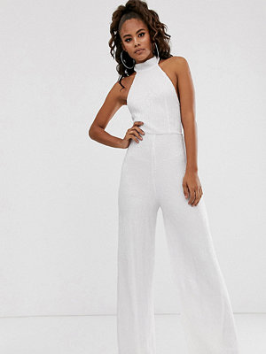 Club L London Tall Vit jumpsuit med halterneck