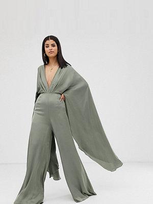 ASOS Edition Tall Jumpsuit i satin med capeärm Salviagrön